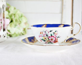 Vintage Paragon Teacup - Floral Teacup, English Teacup, Blue Teacup, Bone China Teacup, Tea Party Teacup, Vintage Teacup, Pretty Teacup