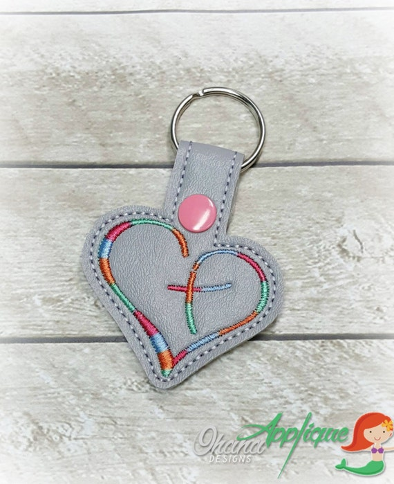heart cross key chain key fob snap tab by ohanaappliquedesigns