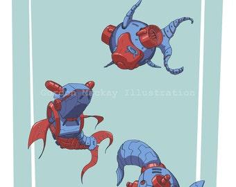 Robot Goldfish Illustration Print