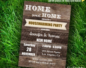 Editable Printable Housewarming Party Invitation New Home party theme Type your own text & print at home - Instant Download PDFfile A082