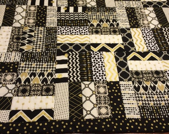 Black and Gold Baby Quilt