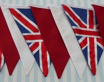 Union Jack Bunting, English Bunting, British Flag Bunting, Great British Bunting, Red, White & Blue, Photo Prop, Eco Friendly, Reusable