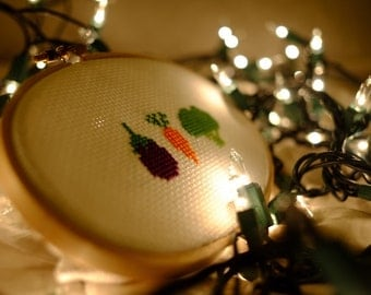 Simple Veggie Cross Stitch - Completed