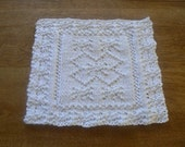Hand Knit Super Snowflake White Cotton Dish Cloth or Wash Cloth