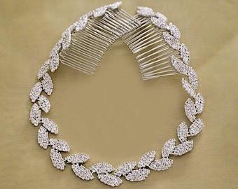 Wedding Tiara, Bridal Headband, Wedding Headpiece, Rhinestone Headband, Hair Tiara, Flower Girl, Bridesmaid, Hair Accessory,Prom Tiara-HA003