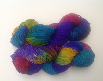 Luxury sock yarn, purples and fuchsia, merino wool / silk sock yarn, hand dyed