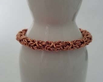 Copper bracelet - handwoven byzantine weave chain maille - men or women