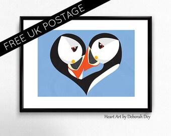 Puffin Print/ Puffins/art print/love/valentine/birds/ illustration/wall art/ wall décor/ nursery art/picture/digital art/A4/A3/Scottish art