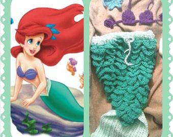 Mermaid Outfit, crochet, halloween, costume, photo shooting, prop set, shower gift, Little Mermaid Ariel, green-mint-purple-blue