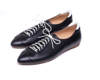 Sale 40% off! Black shoes, women shoes, sneakers, Black oxford shoes, handmade leather shoes. Alexander model.