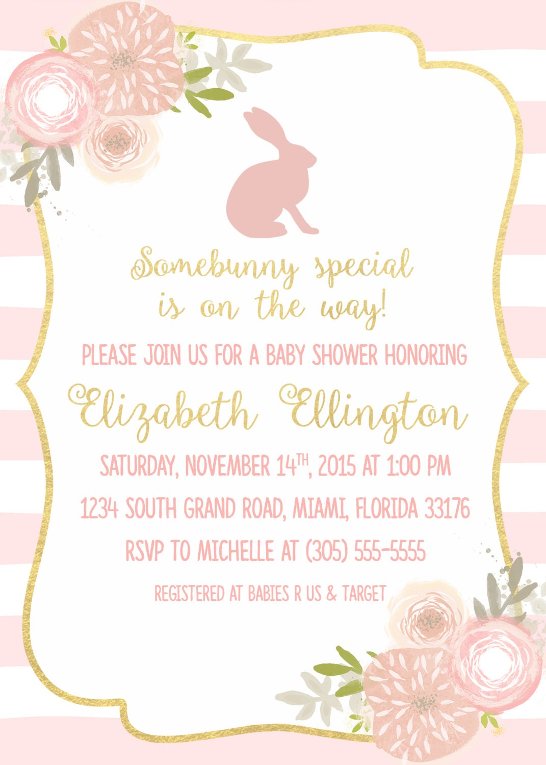 Bunny Pink and Gold Baby Shower Invitation, Somebunny Special is on ...