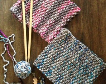 Luxurious Chunky Knit Scarf Cowl - Mix of Greys and Blues - Glows in The Dark