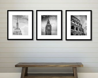 Set of 3 City Prints, London, New York, Rome, City Wall Art, Wall Decor Print, Travel, Living Room Decor, Anniversary Gift, Birthday Gift