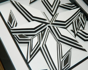3D Paper Sculpture Shards Black and White