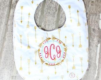 Tribal Arrows Monogrammed bib and burp cloth, personalized baby gift, monogrammed, baby bib, burp cloth, baby girl