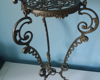 Stunning antique brass copper plant table