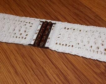 White crochet belt