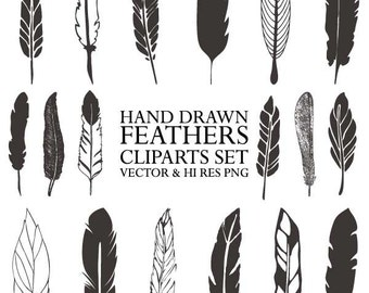Hand Drawn Feather Clipart - Vector Rustic Feather Drawing Clipart Clip Art PNG & Vector EPS, AI Design Elements Digital Instant Download