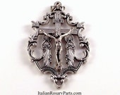 Large Ornate Rosary Crucifix With Virgin Mary and Mary Magdalene At Foot of Cross   Italian Rosary Parts