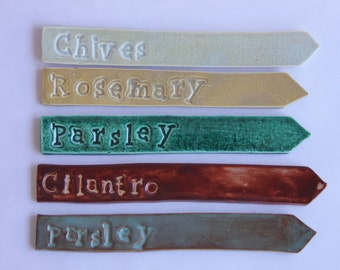 Set of 10 Ceramic Herb Markers