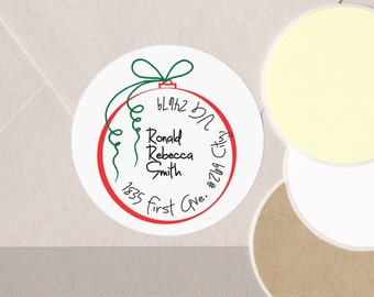 """return address Christmas label stickers Christmas red ornament personalized round 12 large 2.5"""" or 20 medium 2"""" contemporary envelope seals"""