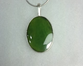 925 Sterling Silver Natural Jade Pendant