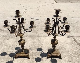 Brass Candelabra Pair