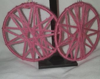 Pink yarn hoop earrings
