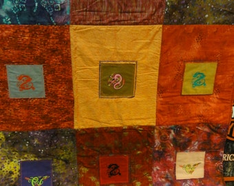 Dragon  Embroidered Quilt Approx 50x60