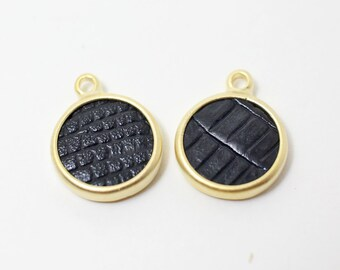 P0369/Anti-Tarnished Gold Plating Over Pewter+Black Artifical Leather/Black Leather Circle Pendant/13mm/4pcs