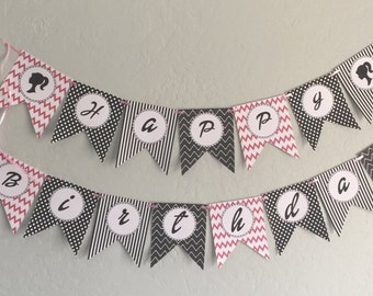 Printable Happy Birthday Barbie Banner