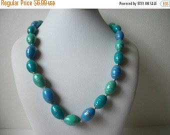 ON SALE Vintage Shades Of Blue Teal Green Silver Necklace 975