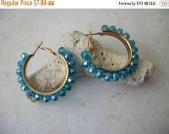 ON SALE Vintage Blue Aurora Borealis Earrings 51216