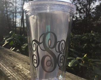 16oz Monogram Tumbler with Lid and Straw