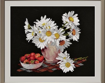 "Cross stitch kit by Oven - ""Daisies on Black"""