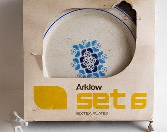 Retro set of six Arklow tea plates