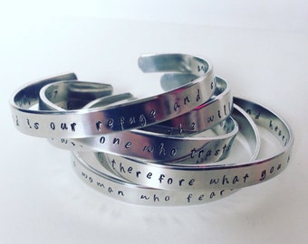 5 cuff bracelet bundle, personalised up to 30 characters each.