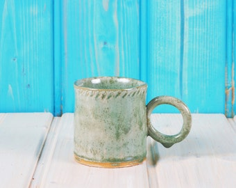 Ceramic Cup in mint - stamped Strip - tea - coffee cup - mug - surprise in the bottom - stamps - PRODUCTION ORDER