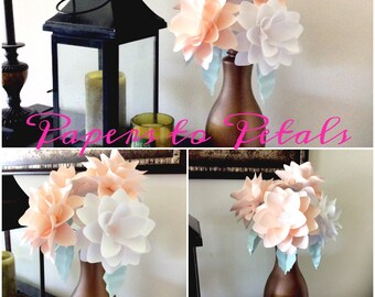 Paper flower stems, mixed colors, set of 50.