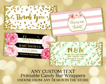 Custom Text Printable Candy Bar Wrapper Labels Baby Shower Wedding Birthday Digital Label Any Custom Text