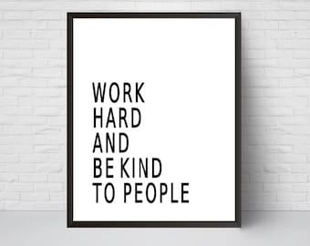 Work hard be kind   Etsy