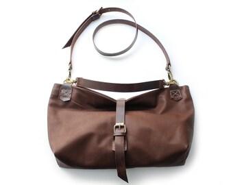 Leather shoulder bag / SHOULDER BAG made of italian leather  color brown. Mary leather shoulder bag