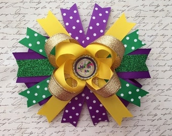 Mardi Gras hair bow-extra large puple green yellow gold hair bow-7 inches Mardi Gras  bow-extra large boutique mardi gras bow- Mardi Gras