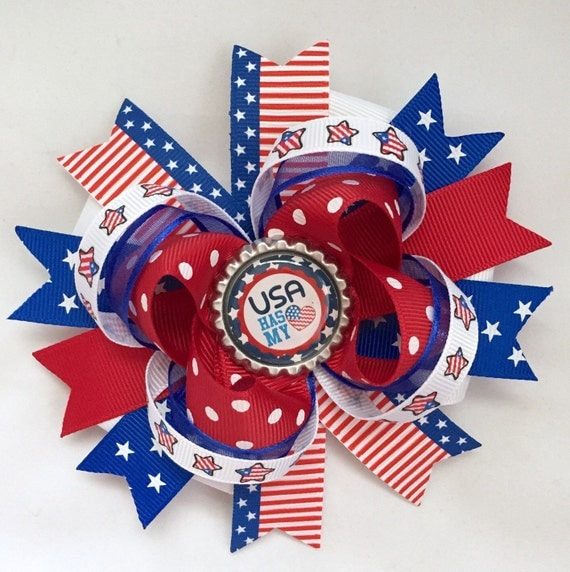 July 4th hair bow- red white royal blue hair bow-patriotic hair bow-red white blue hair bow- Fourth of July hair bow- july fourth hair bow