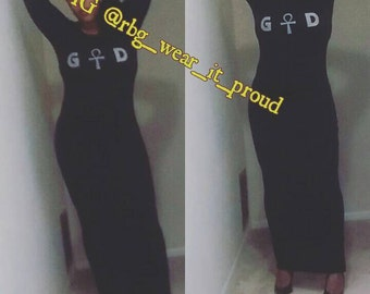 Black GOD Long Sleeve Maxi Dress Bodycon Ankle Length Dress Slim Pencil