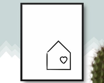 Little House PRINTABLE Art, Monochromatic Wall Art, Black and White, Scandinavian Style Poster, Nordic House, Nursery or Kids Room Decor