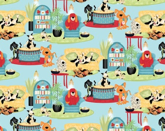 Pre-Order House Dogs, Cotton Fabric. BTY.