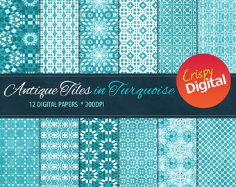 Turquoise Digital Papers Antique Tiles 12pcs 300dpi Digital Download Collage Sheets Scrapbooking Printable Paper
