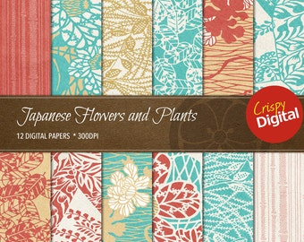 Japanese Pattern Flowers and Plants Vol. 4 Digital Papers 12pcs 300dpi Digital Download Collage Sheets Japanese Printable Paper