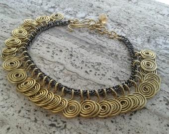 Handmade wire spirals bracelet in laitpn/copper/stainless steel/german silver